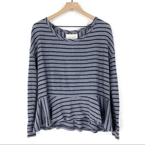 Free People Auntie Em Striped Thermal Peplum Top